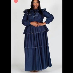 Fall Ready Ruffle Denim Dress